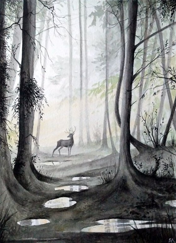 The Stag (Original Watercolour Painting)
