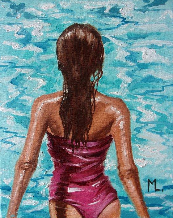 """"""" BLUE RELAX """" SUN SKY SEA SAND liGHt  ORIGINAL OIL PAINTING, GIFT, PALETTE KNIFE"""