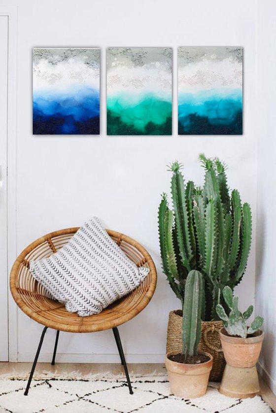 triple seascape (3 artworks 40 x 30 cm) Dee Brown