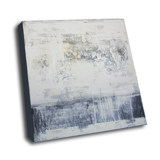 PALE GREY - 90 X 90 CMS - ABSTRACT PAINTING TEXTURED * OFF-WHITE * GREY