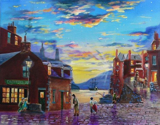 Crofter's Inn harbour painting