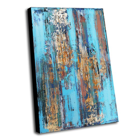 BLUE STREAM - ABSTRACT ACRYLIC PAINTING ON CANVAS * COLORFUL ARTWORK