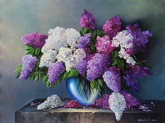 Lilacs (60x80cm, oil painting, ready to hang)