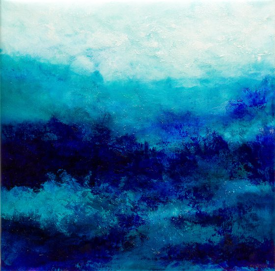Blue abstract water landscape n°3 - Wall art Abstraction Home decor Oil painting