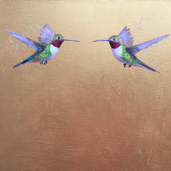The Two Of Us ~ Hummingbirds on Gold