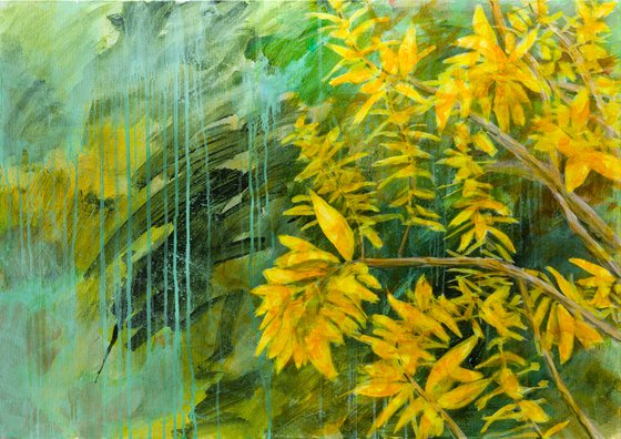 Verbena on a bright late autumn day - Modern painting - floral impressionistic garden