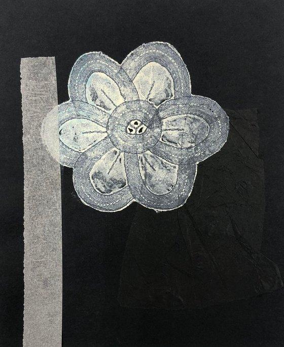 White flower. Collage. Mixed media.