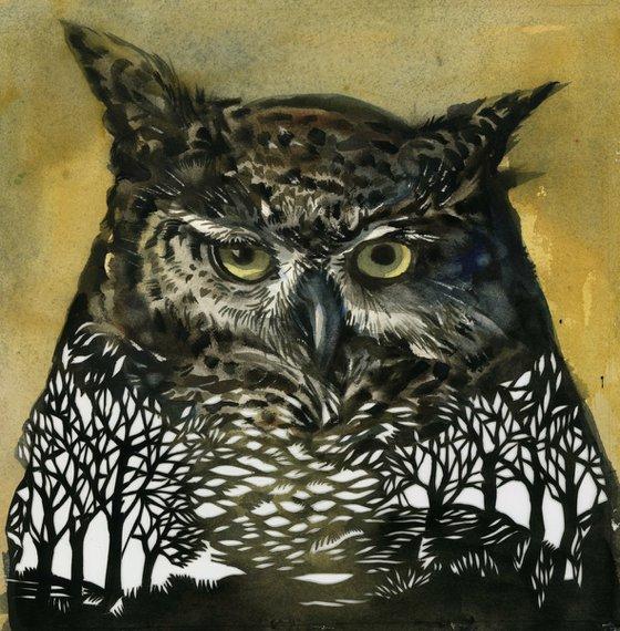 owl in the wood, watercolor papercut