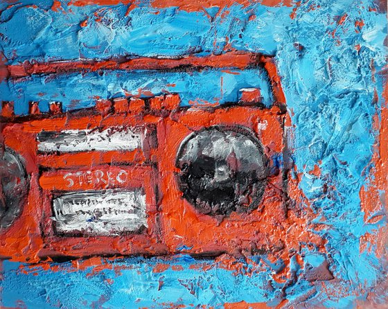 Abstract painting Impasto Record player 80s