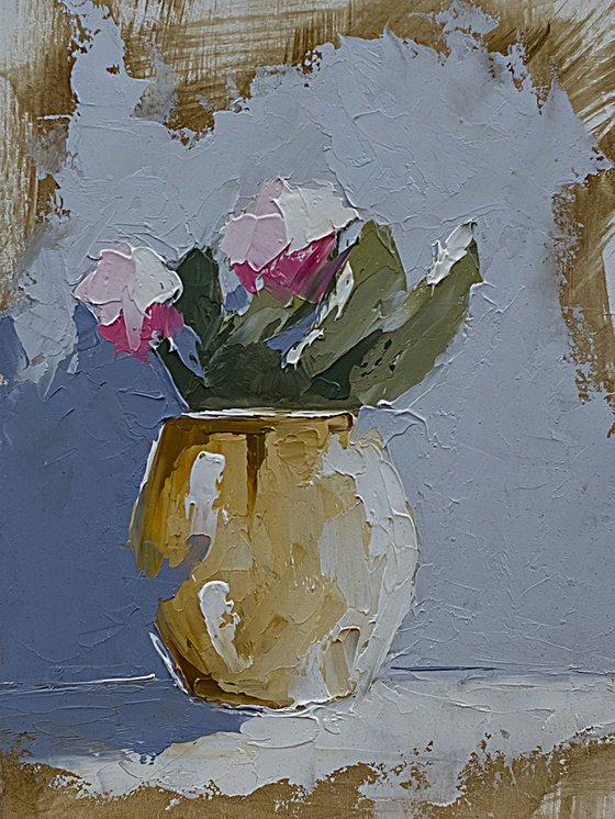 Still life oil painting. Gift idea. Flowers in vase