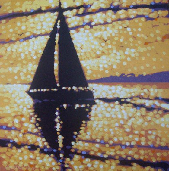 Golden sunset sailing