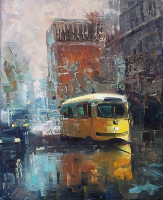 Yellow tram (40x50cm, oil painting, ready to hang)