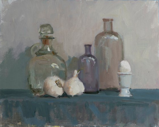 Still - life with glass bottles