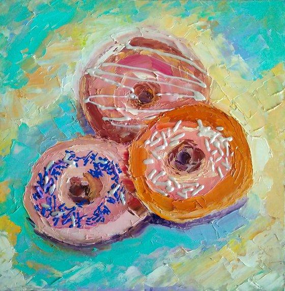 Donuts Painting Original Art Food Still Life Artwork Dessert Wall Art