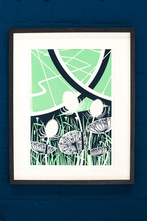 2 Brave Wheels - A3 Silkscreen Cycling Poster, Limited Edition Screen Printed Bicycle Art Print, Countryside Landscape