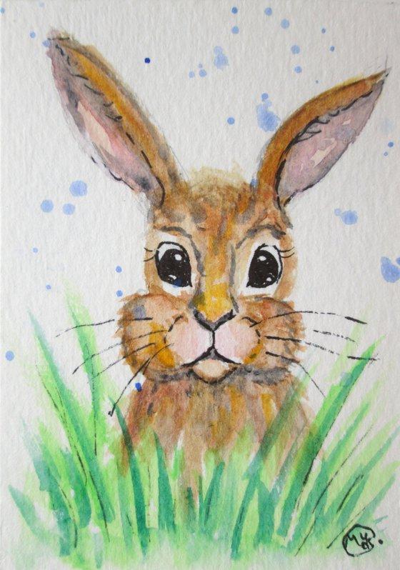 Hoppy Hare Miniature ACEO original OOAK painting
