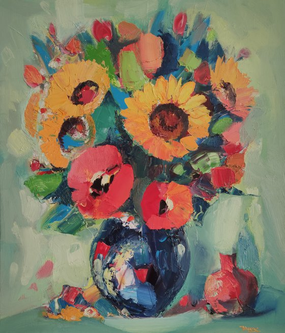 Still life with flowers and pomegranate (60x70cm, oil painting,  ready to hang)