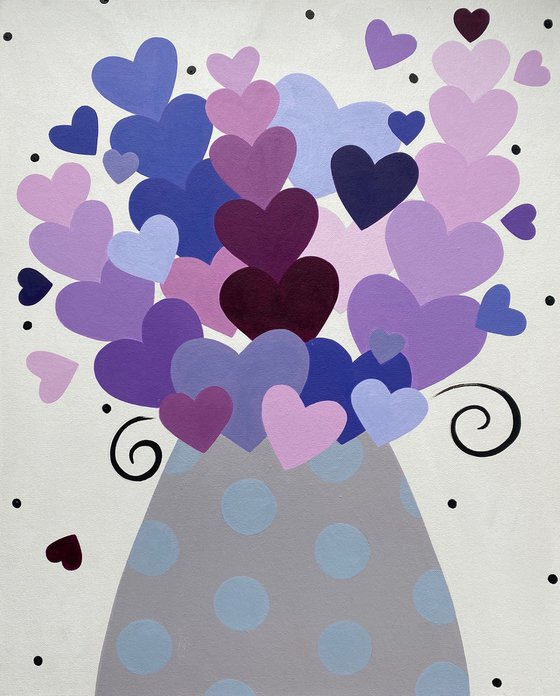 Lavender Heart Bouquet with Polka Dot Vase