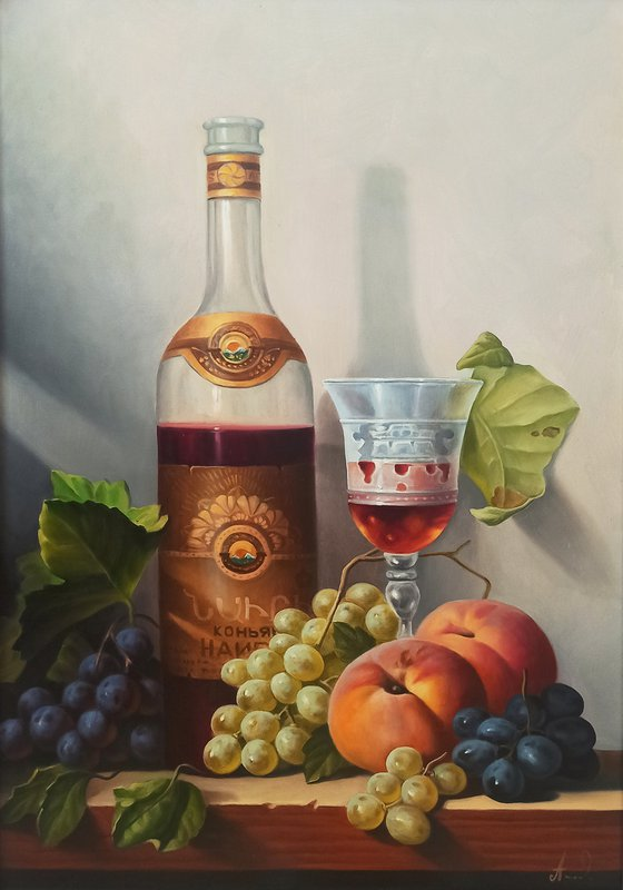 Still life with cup of cognac  (40x60cm, oil painting, ready to hang)