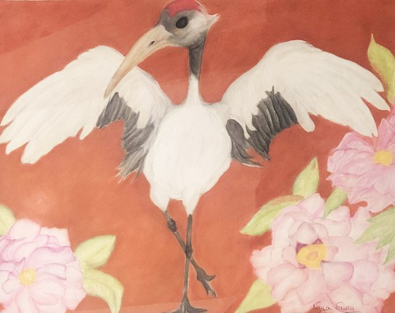 Japanese cranes and peonies, emblems of prosperity.