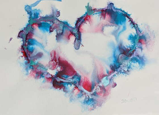 Benvolio, heart painting, gorgeous teal and magenta inks on watercolour paper,