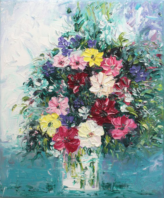 Flowers for you - still life - floral bouquet - palette knife impressionistic textured oil painting on canvas