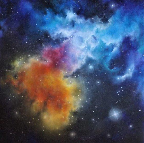 Fire & Ice (reworked) - Space Art, Nebula, Acrylic Large Wall Art