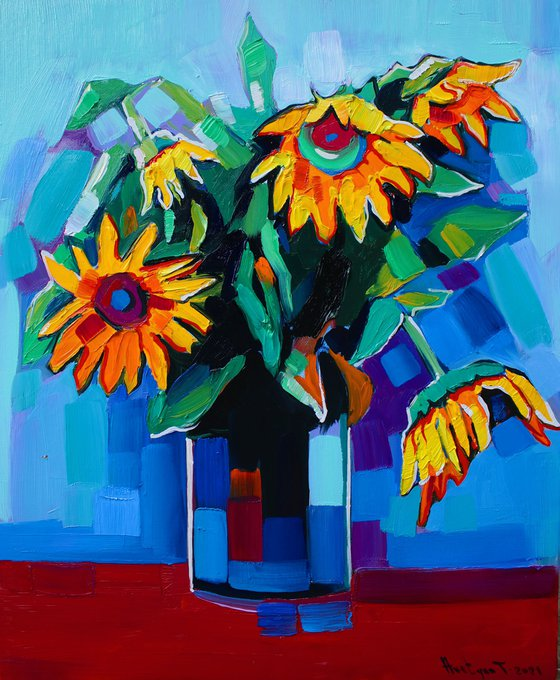 Sunflowers (45x55cm, oil painting, ready to hang)