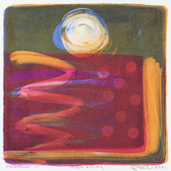 Moon Rising - Unmounted Signed Monotype