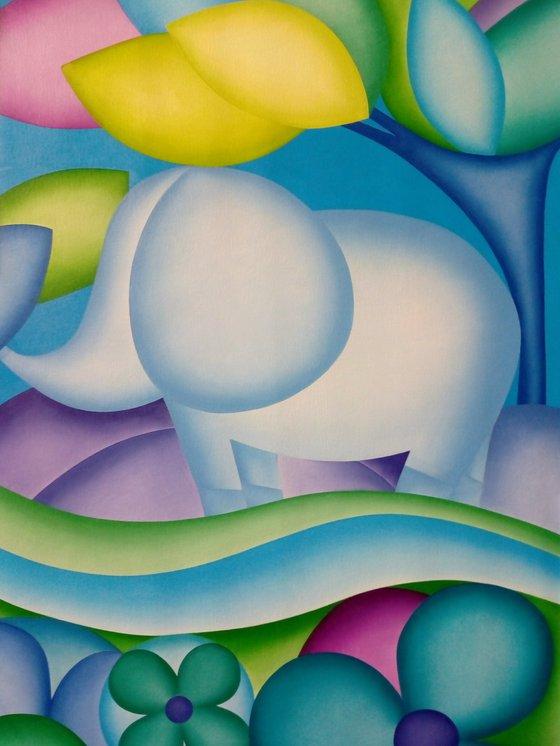 Elephant in blue 50 x 70 x 2 cm