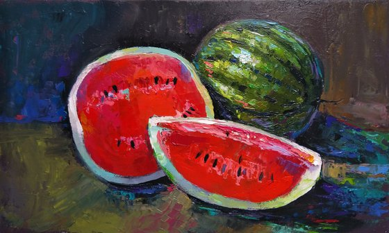 Still life - Summer freshness (30x50cm, oil painting, ready to hang)