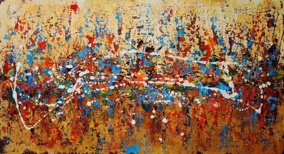 Abstract, red,blue black christmas sale 550 USD now 445 USD.