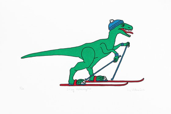 Velociraptor skier