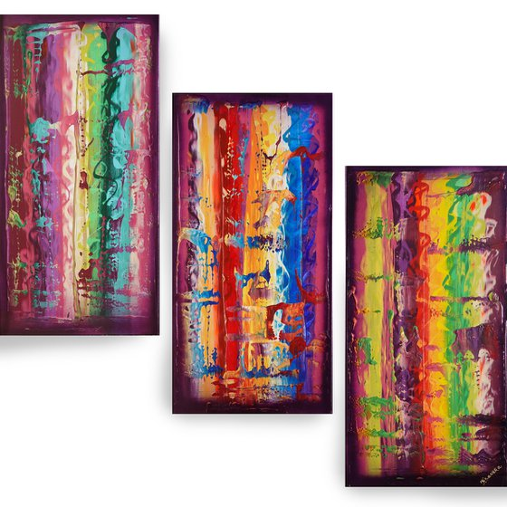 Rainbow A828 Large abstract paintings Palette knife 100x150x2 cm set of 3 original abstract acrylic paintings on stretched canvas
