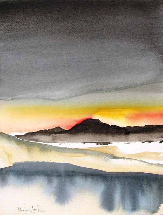 Storm Over Madrid, New Mexico - Original Watercolor Painting