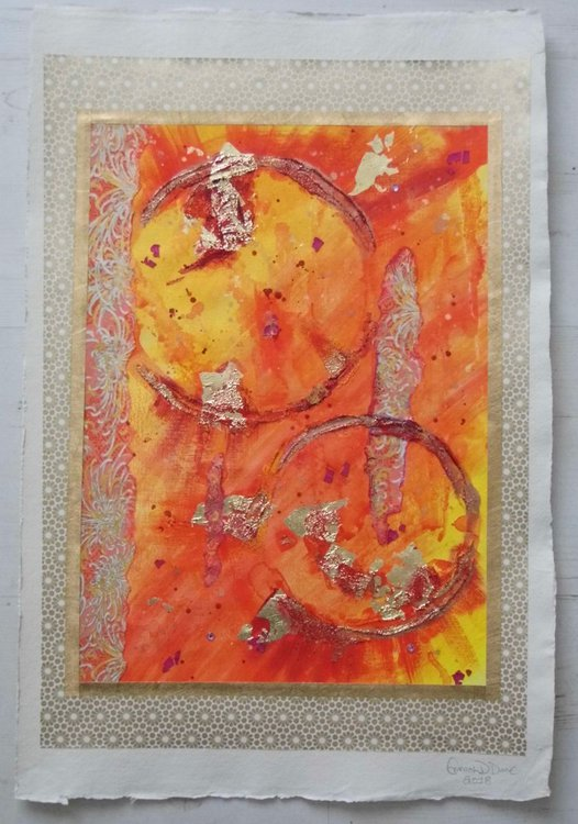 Summer Bloom | Orange Gold Abstract | Orange Gold Paper | Chiyogami |  Japanese Paper | Colourful Abstract | Colorful Abstract | Texture |  Medium-sized