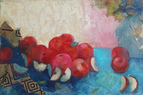 Still life with red apples -autumn -red -gift idea home decor