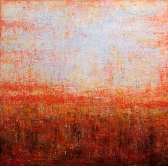 """Spring Sunset, 100x100 cm - 39""""x39"""", Large original abstract painting, Ready to hang"""