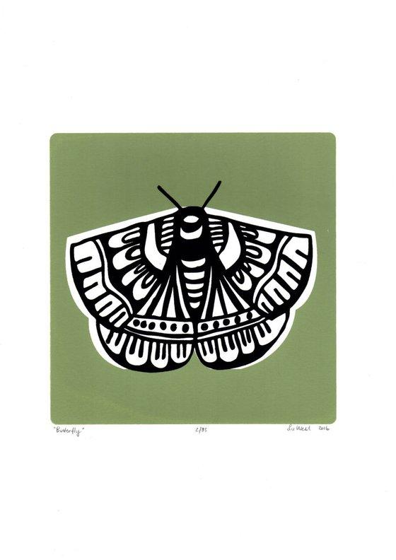 Butterfly in Sage Green - Unframed - FREE Worldwide Delivery