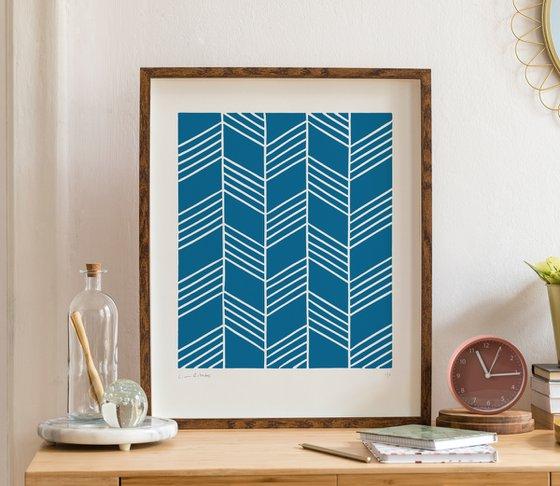 Flight (Blue Geometric Linocut Print)