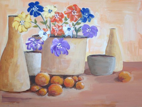 5 pots flowers and fruit