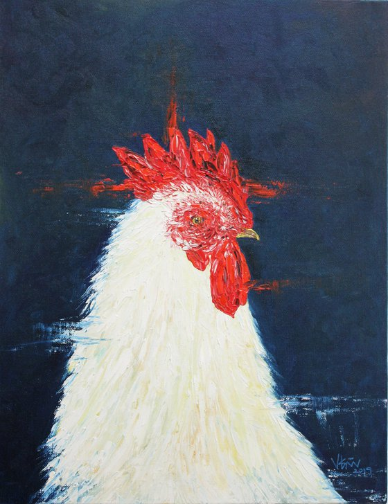 Mr.Henry - Rooster series, Cock painting - Oil painting on canvas board- Bird art - Easter art
