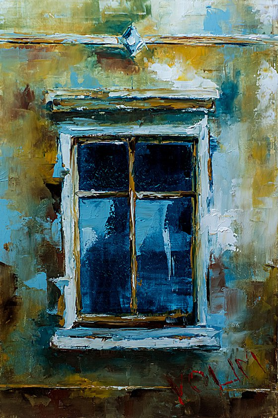 Old window. Small oil painting