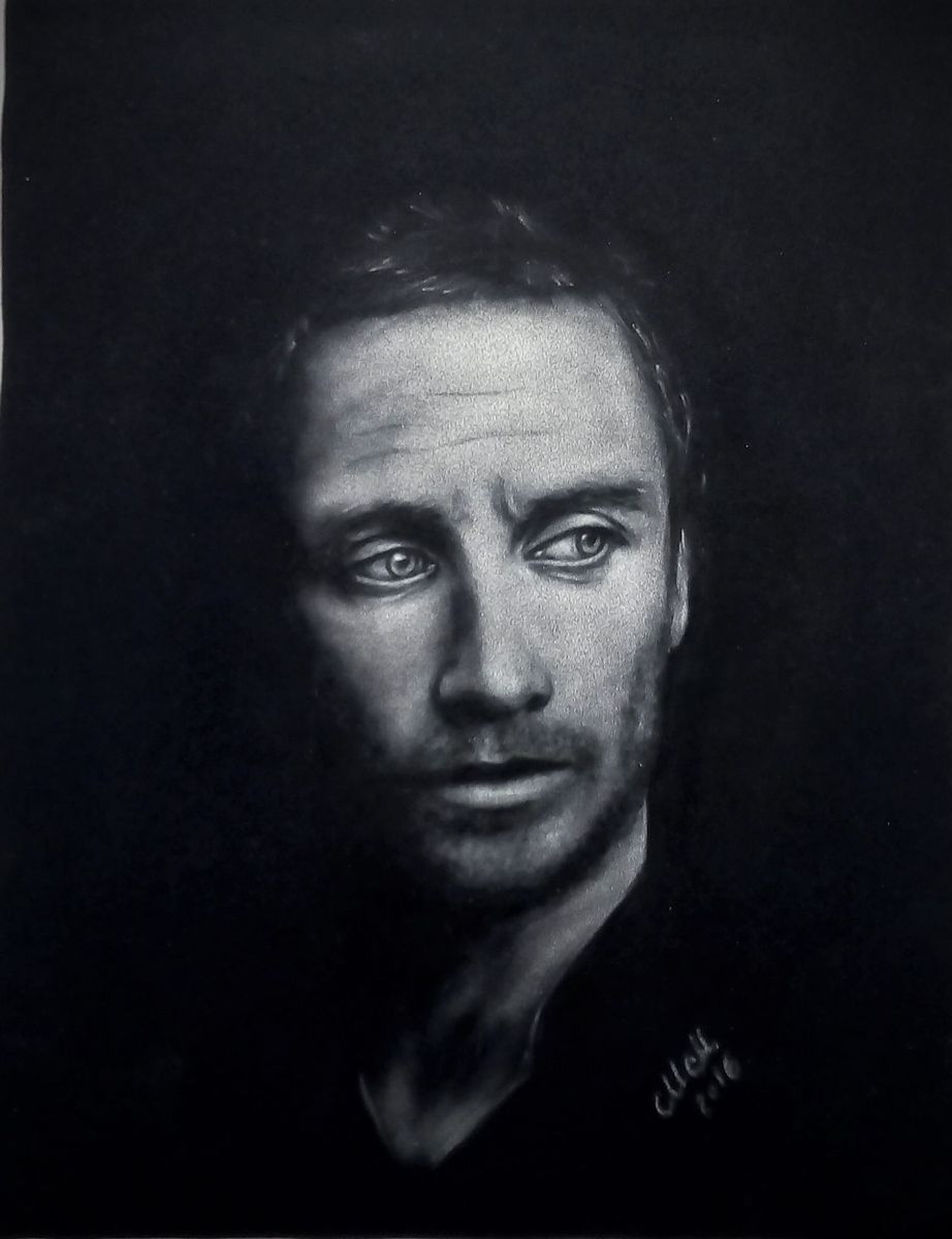 Man in the dark black and white pastel portrait painting 2016