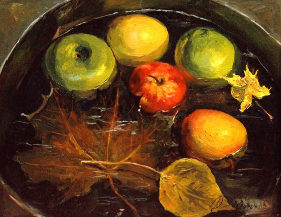 Floating apples. Realistic impressionism oil painting