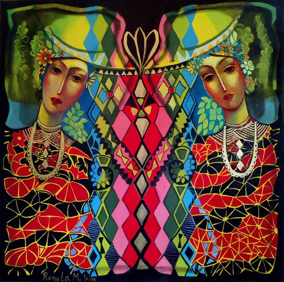 """ Strangers "" - 80 x 80cm Original Oil, Gilding on Canvas - Gold Bronze"