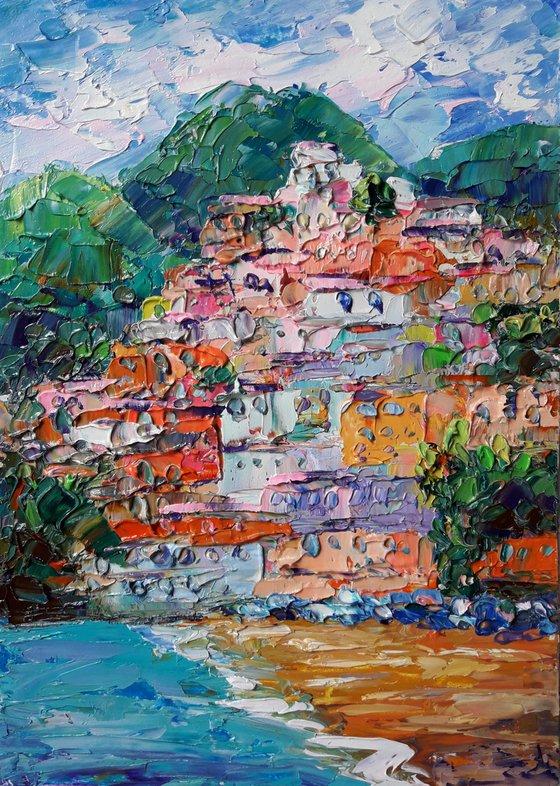 Charming Positano Italy Painting Italy Original Art Seascape Impressionist Impasto Oil Painting by Kseniya Kovalenko