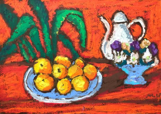 Red Still Life With Oranges