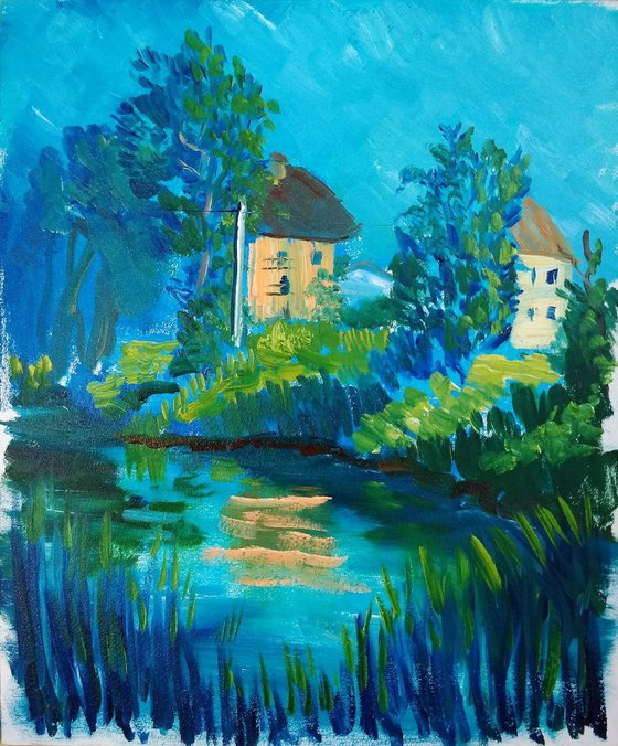 The small pond. Plein air painting