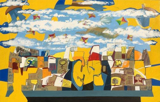 The happy city (130x200cm, oil painting)